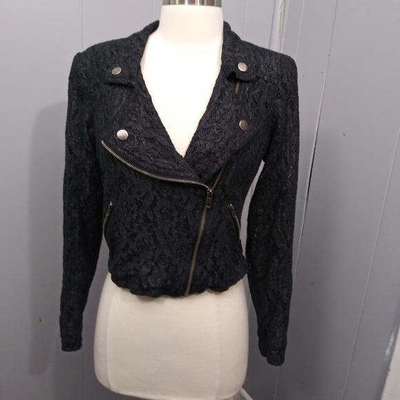 Material Girl Jackets & Blazers - Material Girl Black Lace Floral Crop Jacket